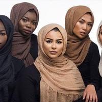 180x100cm Women Cotton Bubble Plain Wrinkle Hijab Scarf With Fringes Popular Muslim Muffler Shawls Wraps Large