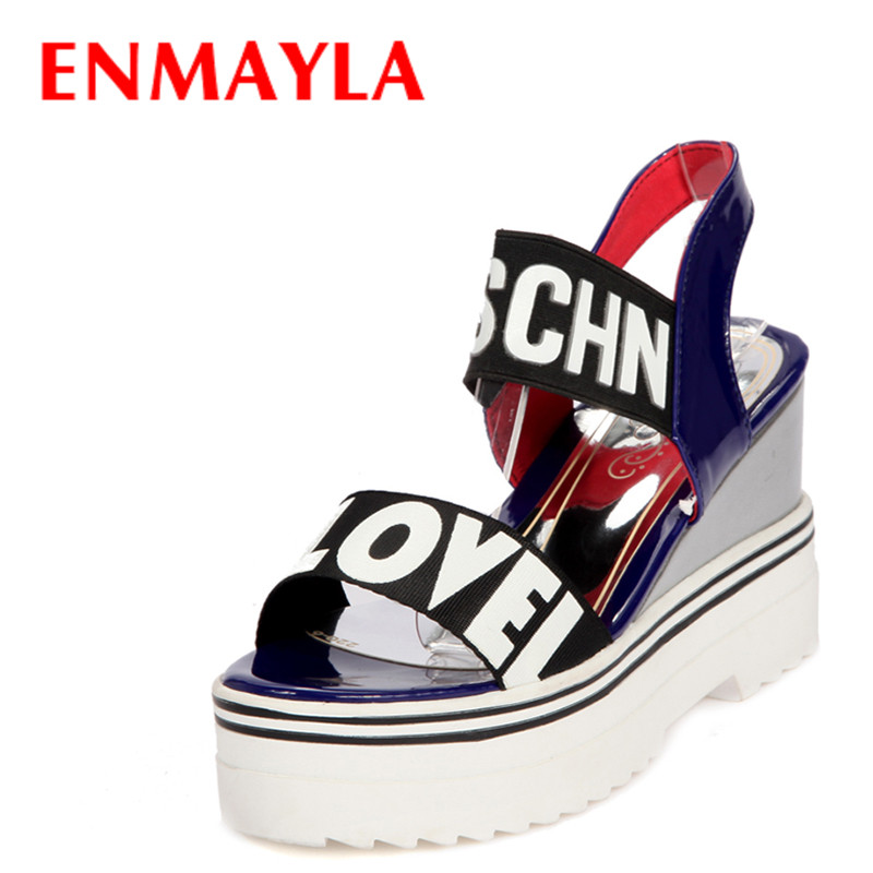 ENMAYLA Summer Ankle Wrap Platform Sandals Women Wedges Heels Open Toe Shoes Woman Mixed Colors Words Red Casual Shoes Sandals  enmayla flowers wedges heels platform sandals women open toe high heels shoes woman solid color ladies sandals female shoes