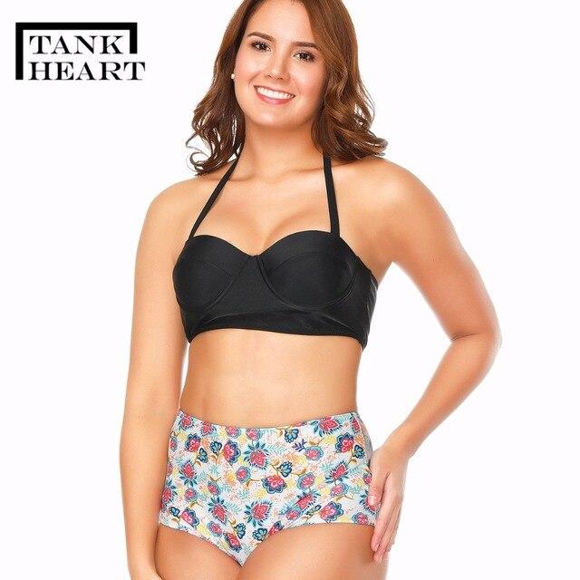 5fba48c7e4 Tank Heart Sexy two piece Swimsuit Women Plus Size Swimwear Tankini Push up  Bikini Girls bathing
