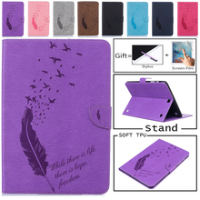 Luxury Feather Case For Samsung Galaxy Tab A 9.7 Inch SM-T555 T550 PU Leather Stand Flip SM-T550 Tablet Protective Cover + Film detach wireless bluetooth keyboard case cover for samsung galaxy tab a 9 7 sm t550 t550 t555 p550 with screen protector film pen