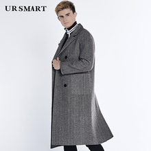e4915d6283b79 URSMART The new double coat the doubles the double-breasted long patch  pocket herringbone frock