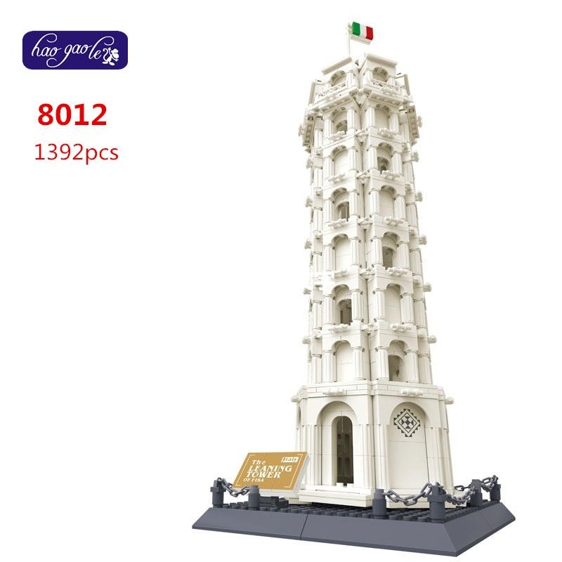 Bezmaksas piegāde WanGe 8012 1392Pcs ķieģeļu bloki celtniecības bloki komplekti bērnu izglītības rotaļlietas LEANING TOWER OF PISA