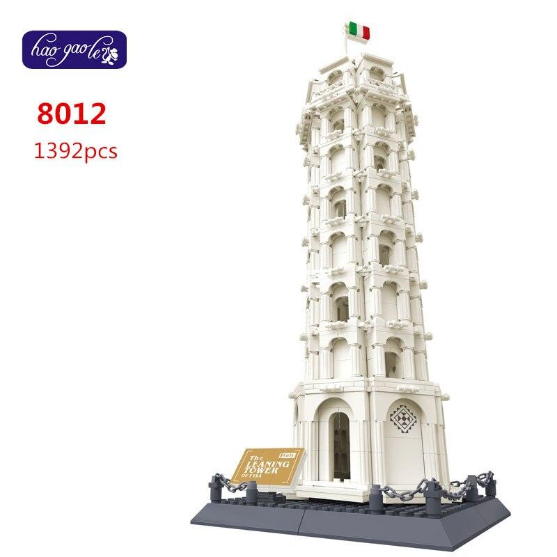Livraison gratuite WanGe 8012 1392 pièces briques blocs blocs de construction ensembles enfants jouets éducatifs tour penchée de pise
