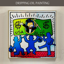 Excellent Artist Hand-painted High Quality Rich Man with USA Dollars Oil Painting on Canvas Monopoly