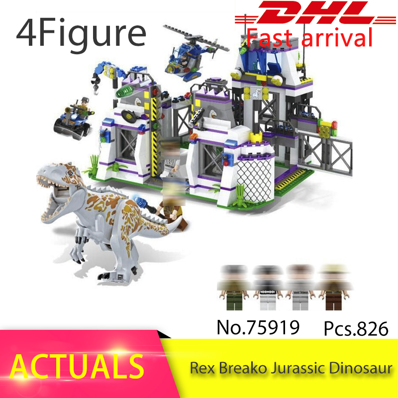 Violent Brutal Dinosaur Indominus Rex Breako Jurassic Dinosaur World 826pcs Bricks Building Block Toys For Children 75919 wiben jurassic tyrannosaurus rex t rex dinosaur toys action