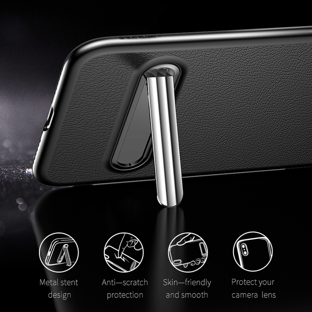 Baseus iPhone X Metal Kickstand Leather Back Case Cover