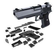 DIY строительные блоки игрушки оружие Desert Eagle и BERETTA Револьвер с пулей пластиковая модель пистолета для детей мальчиков