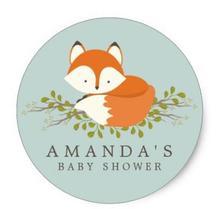 1.5 дюйма сладкий лесной Fox Baby Shower Пользу Печать Классический круглый Стикеры