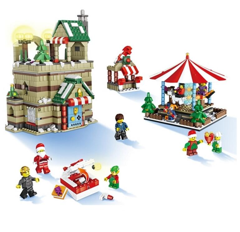 1595PCS Creative Christmas Merry-Go-Round Building Block Educational Toys Gifts for Game Player and Collectors merry go round