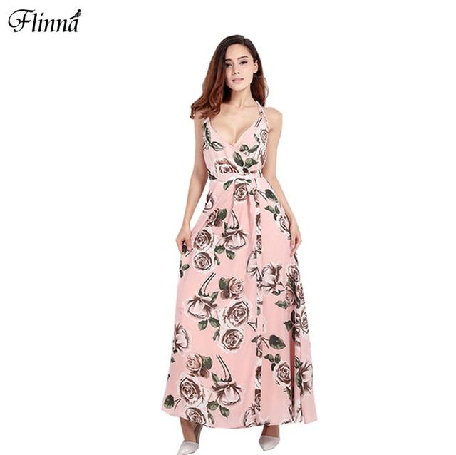 8e16a536484 2016 Summer Floral Print Women Dress Bohemian Beach Women Dress Backless  Spaghetti Strap Dress Women Size