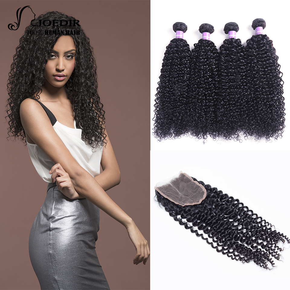 Joedir Malaysian Kinky Curly Hair 4 Bundles With Closure Free Part 100% Human Hair Bundles With Closure Non Remy Free Shipping