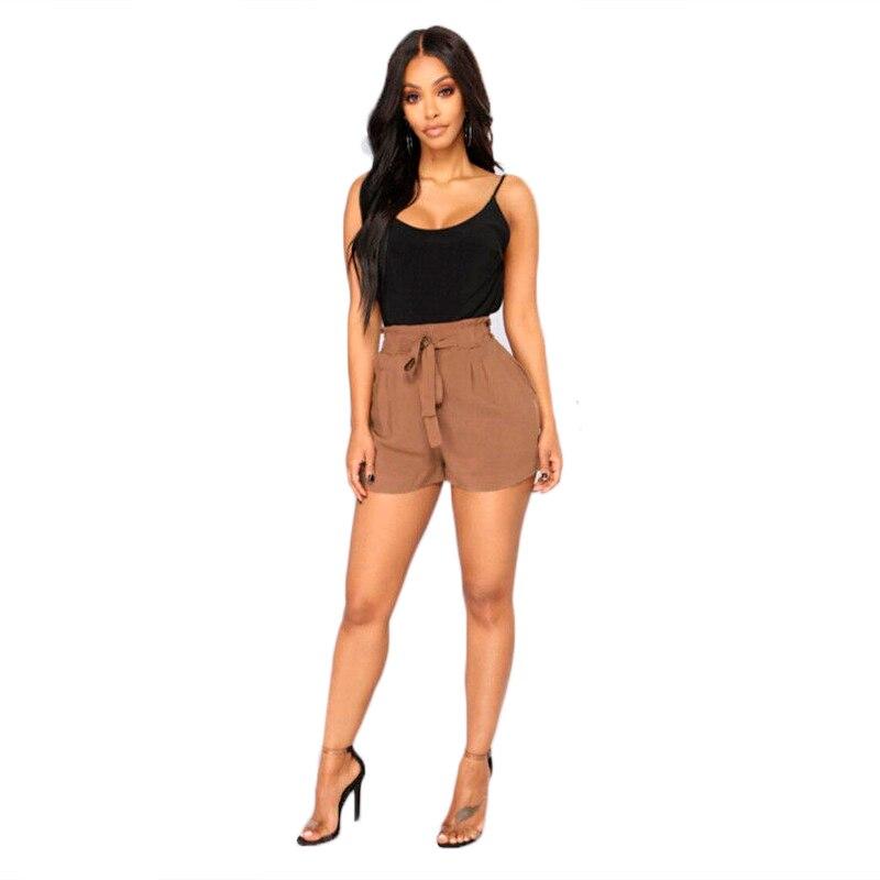 Solid Shorts Women Shorts bandage with belt Plus size Ladies Shorts Outdoors Loose Bottom Shorts 2020 Summer Beach Casual Shorts