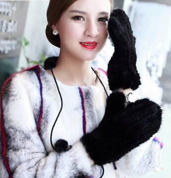 Top  famouse brand Design new 2016  Luxury  Real Mink fur gloves , winter full-fingers Gloves  Guantes mittens para mujers