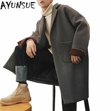 AYUNSUE, новинка, мужское осенне-зимнее шерстяное пальто, пальто, куртка, Мужская Повседневная модная свободная ветровка большого размера, верхняя одежда LX1477