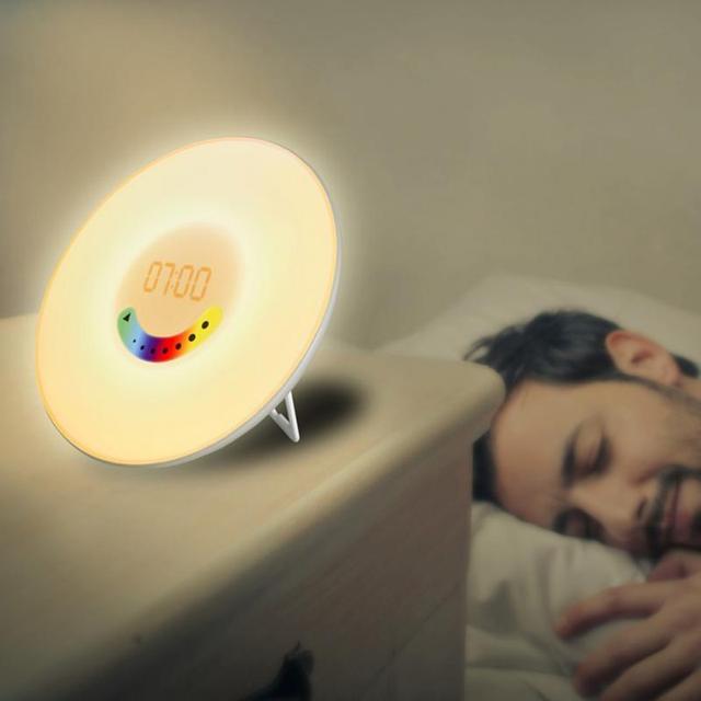 Touch Sensing Digital Alarm Clock Sunrise Sunset RGB LED Wake Up Lights With FM Radio Colorful Light Snooze Mode Nature Sound