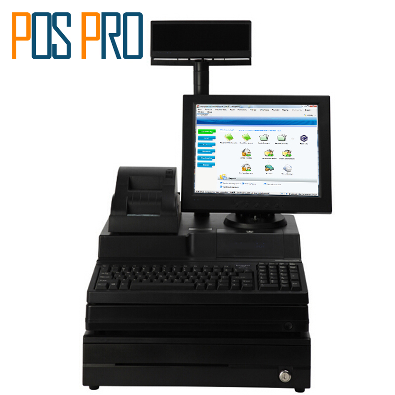 IPOS06 12.1 inch TFT LCD Monitor Cash Register All in one POS System with printer VFD Cash drawer for Supermarket Clothing Shop most complete supermarket pos system touch pos all in one cash register machine with scanner printer cash drawer display msr