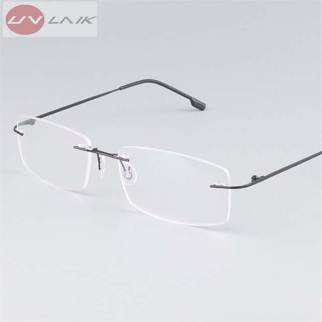 77126cb754fe8 placeholder UVLAIK Clássico Mens Armações de Óculos Sem Aro de Titânio Puro  óculos de Miopia Óptico Quadro
