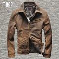 Hombres capa de la chaqueta de cuero genuino de la vendimia 100% de piel de cordero chaqueta de la motocicleta de cuero real abrigos veste cuir homme cappotto LT1026