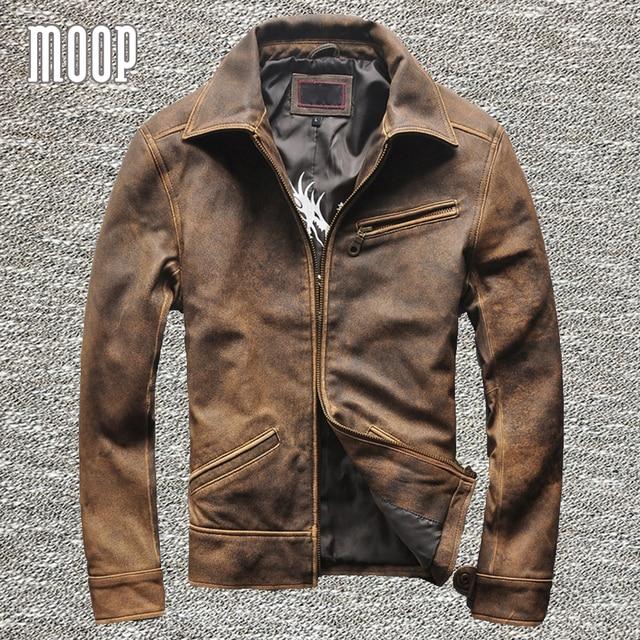 Vintage genuine leather jacket coat men 100% lambskin motorcycle jacket real leather coats veste cuir homme cappotto LT1026