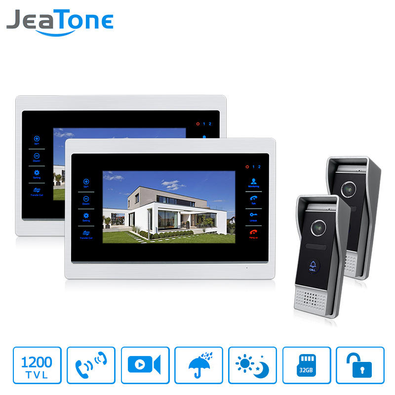 JeaTone Wired 7 Video Door Phone Home Intercom System Hands-free 2 calling Cameras 2 Monitor Night Vision Security system unit jeatone video phone home intercom audio doorbell 3 7mm pinhole cameras with 4 indoor monitor screen wired office intercom