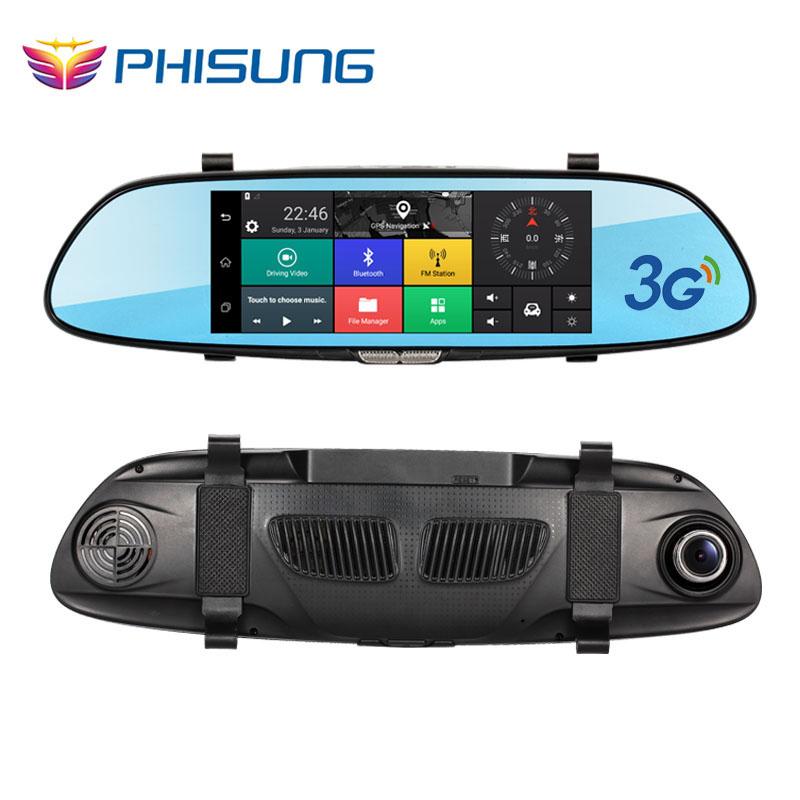 Prix pour Phisung 7.0in 3g voiture dvr vidéo miroir android gps fhd 1080 P voiture automobile Dvr Bluetooth WIFI voiture caméra dvr vidéo enregistreur