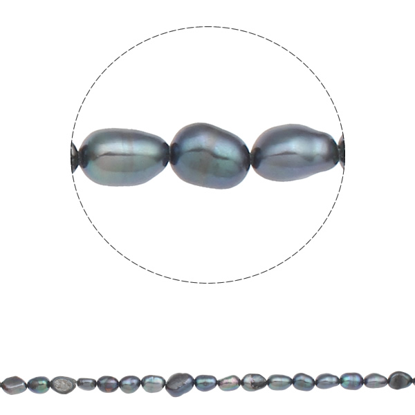 YYW Baroque Cultured Freshwater Pearl Beads,Gift, dark green, 7-8mm, Hole:Approx 0.8mm, Sold Per Approx 15 Inch Strand ...