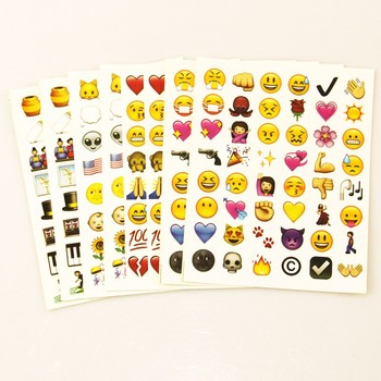 MOOBIFFY 1PCS sheet(48stickers ) Cute Lovely 48 Die Cut Emoji Smile Sticker For Notebook Message High Vinyl Funny Creative