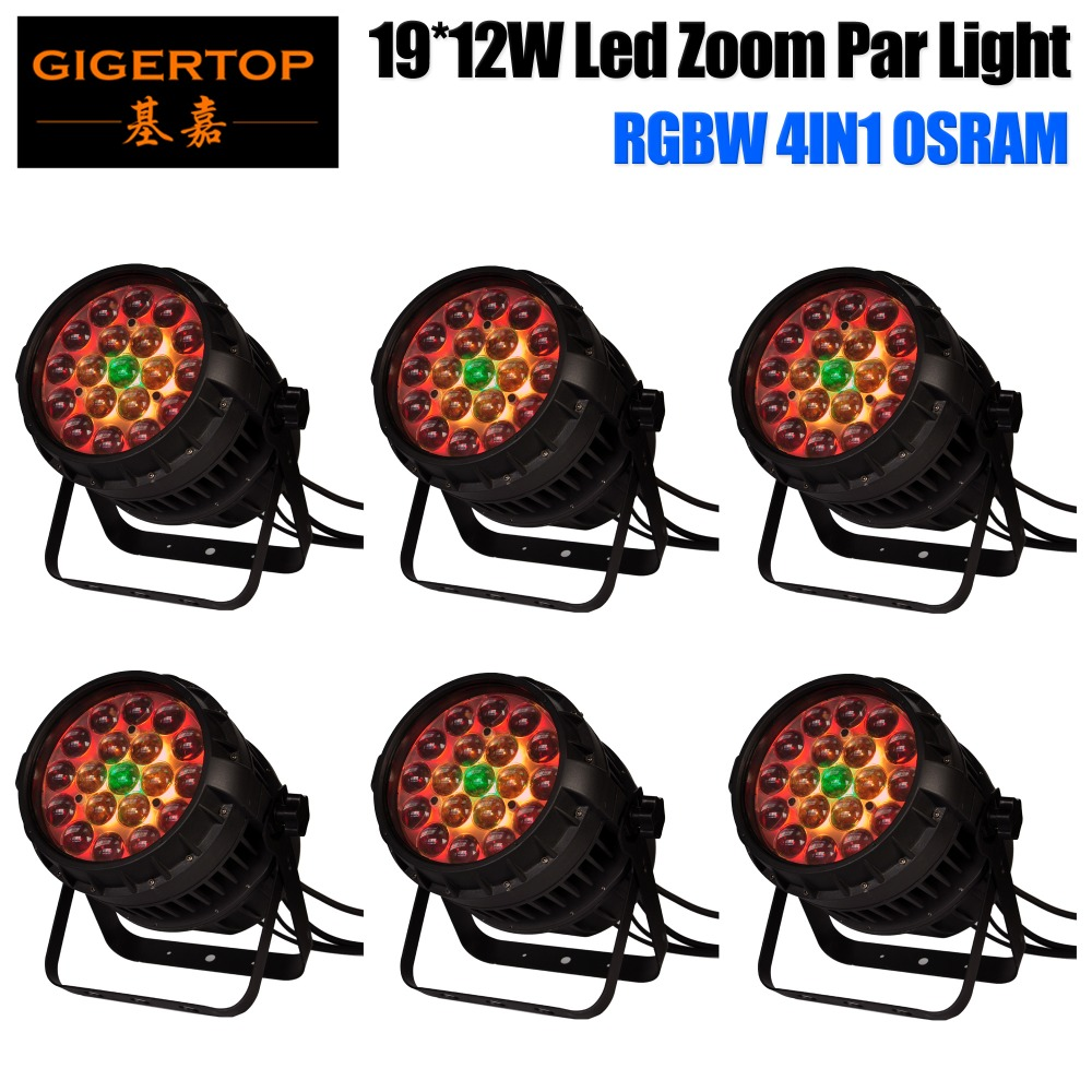 Gigertop TP-P83 6 Pack 230W High Power Zoom Led Waterproof Par Cans IP65 Strong Handle Color Individual Control Ring 6/10/18 DMX