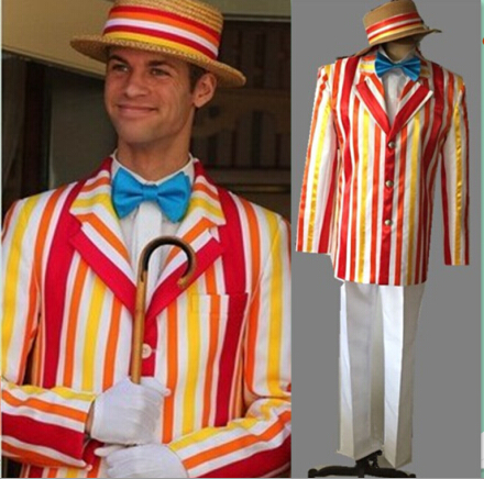 Fast delivery Custom Made Mary Poppins Bert Jacket Adult Movie Cosplay Costume For Halloween Party