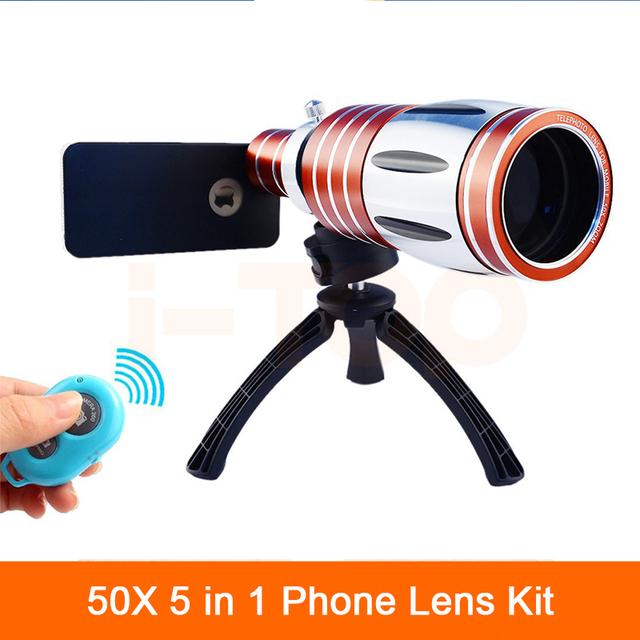 2017 kit de câmera lentes 50x metal telefoto telescópio lente zoom para samsung iphone 6 s 5 s 7 plus 4 s controle remoto bluetooth
