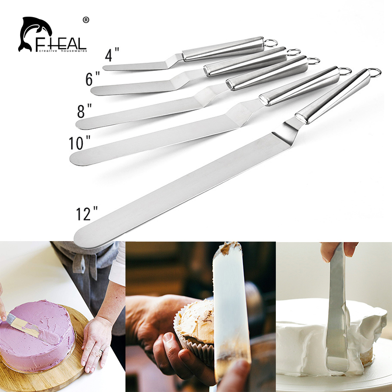 FHEAL 4/6/8/10/12in Stainless Steel Cake Spatula Butter Cream Frosting  Knife Smoother Fondant Baking Pastry Cake Decorating Tool