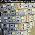 DC 24V SMD 5050 RGBW led strip light 120led/m Double Row RGB warm white 5M 600LEDs Waterproof flexible RGBW led tape rope light