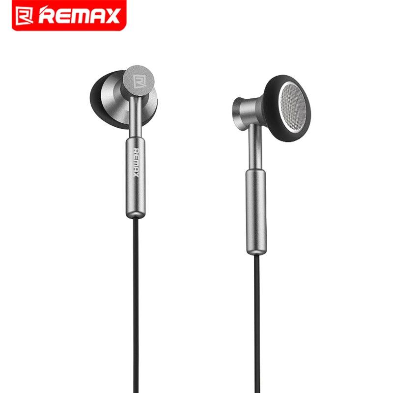 Remax 3.5mm Écouteurs En Métal Casque Stéréo Bass In-Ear Casques Micphone Mobile Téléphone MP3 PC pour iPhone Samsung mi