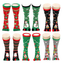 Toe Socks Snowflake Deer 1pair Winter Five-Finger Men Cartoon Women Cute Girl Unisex
