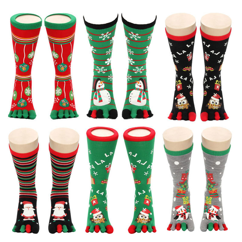 1pair Men Women Girl Christmas   Socks   Toe   Socks   Unisex Cute Cartoon Snowman Owl Snowflake Deer Five Finger Winter Christmas   Socks