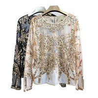 Offical Party brand famous 2018 Lovly rose flower shiny shirt blouses luxury beading party club women shirt blusa camisa
