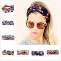 Mulheres da cópia da flor headband elastic turbante torcida atada headband floral étnico ampla banda de cabeça estiramento yoga acessórios para o cabelo