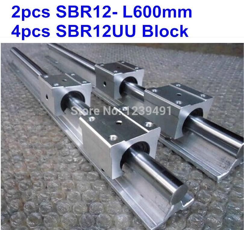 2pcs SBR12 L600mm linear guide + 4pcs SBR12UU block cnc router 2pcs sbr12 400mm linear guide 4pcs sbr12uu block for cnc parts