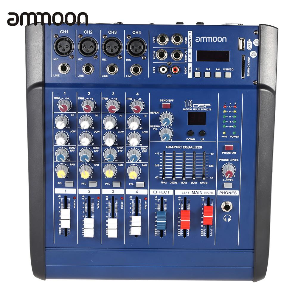 US $54 99 |ammoon PMX402D USB 4 Channel Digtal Mic Line Audio Mixing  Console 16 Built in Sound Effects for Recording DJ Stage Karaoke-in  Electric