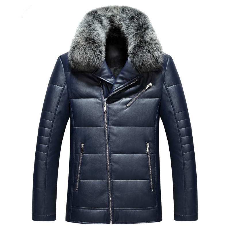 Down Solid Color Jacket PU Leather Men Winter New Casual Warm Jacket Fur Collar Duck Down Mid-Length Cotton Male Parkas MZ1894