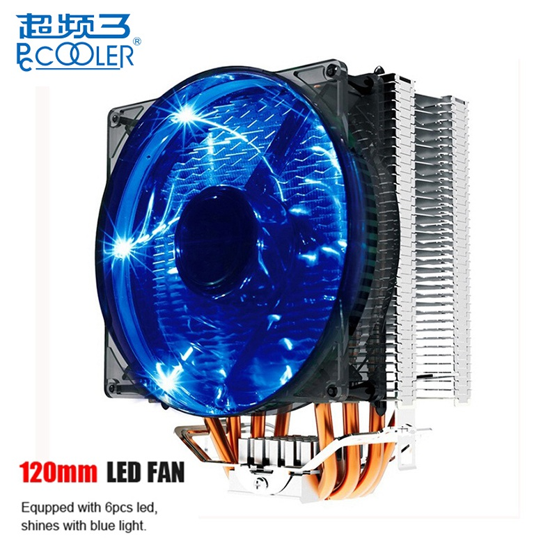 PCCOOLER Donghai X4 Ultra Quiet 4 Pin 4 Heat Pipes Blue LED CPU Cooler Cooling Fan Computer Case Fans for Intel LGA775 for AMD computador cooling fan replacement for msi twin frozr ii r7770 hd 7770 n460 n560 gtx graphics video card fans pld08010s12hh