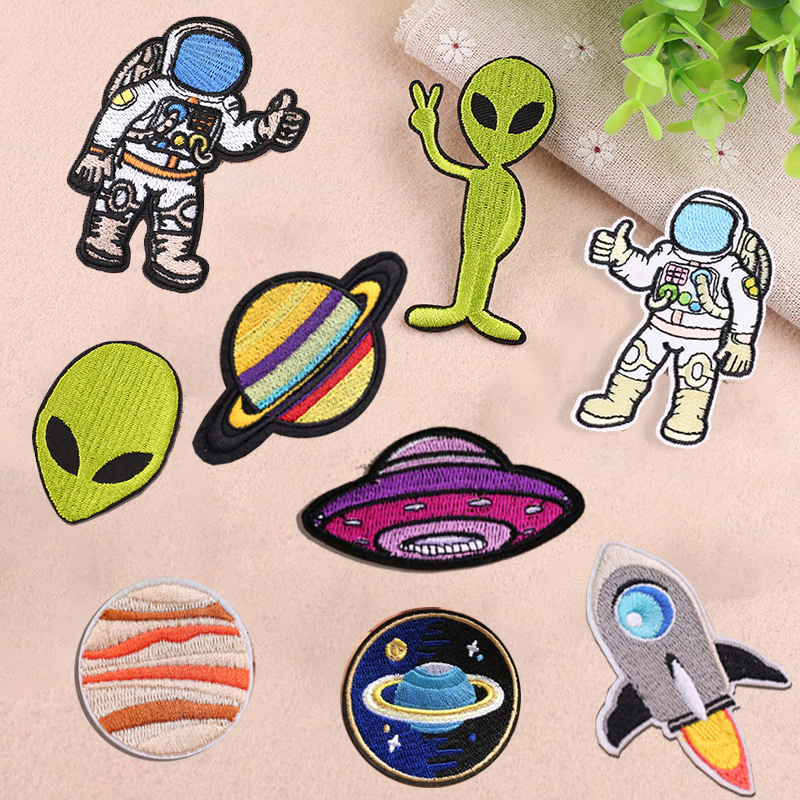UFO Astronaut Planet parches patches for Clothing Ironing on Jeans Stripes  Stickers Custom