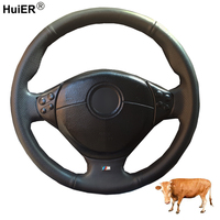Hand Sewing Car Steering Wheel Cover Top Cow Leather For BMW E39 5 Series 1999 2003 E46 3 Series 1999 2005 E53 X5 2000 06 E36 Z3