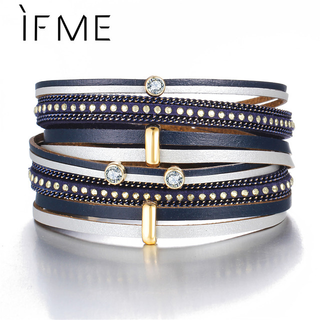 IF ME Vintage Crystal Multiple Layers Leather Charms Bracelets for Women Men Boh