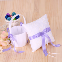 7*7 pollici Ivory White Satin Viola Bowknot Ring Bearer Pillow e Wedding Flower Girl Basket Set