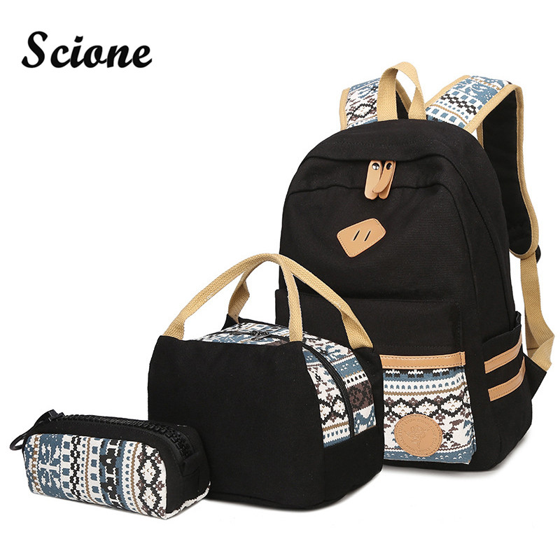 Scione Top Quality Canvas Backpack for Teenage Girls School Bags Fashion Printing Women Backpacks 3PCS Set with Cute Pencil Case 2016 18 inch cute cat printing backpack women school bags for teenage girls fashion men travel bags good quality