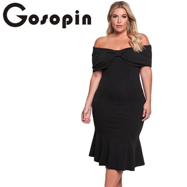 aeadb296d0e8c Gosopin Elegant Summer Vintage Dresses For Women 2017 Plus Size Off Shoulder  Mermaid Midi Black Dress Robe Moulant Femme LC61633