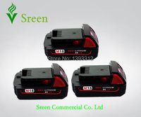 3 X New 1500mAh 18V Rechargeable Power Tool Lithium Ion Battery Replacement For Milwaukee M18 XC