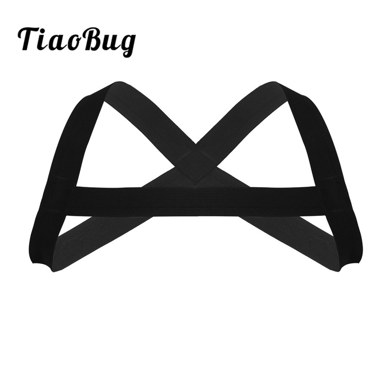 2018 TiaoBug Hot Mans X-Shape Back Elastic Shoulder Chest Muscle Harness Belt Punk Costume Strap For Exercise Or Club Free Size