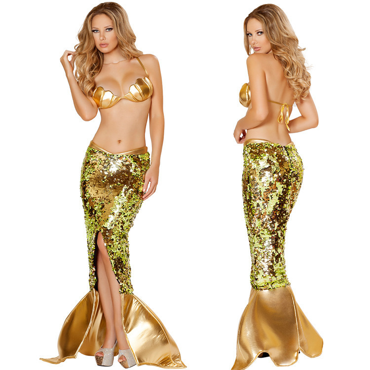 Adogirl Gold Sequined Bra+Skirt Two Piece Mermaid Clothing For Halloween Womens Sexy Evening Party Wear Wholesale Retail